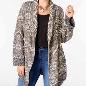 Style & Co. Patterned Open Duster Cardigan